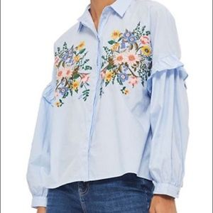 Topshop Floral Embroidered Button Down Shirt